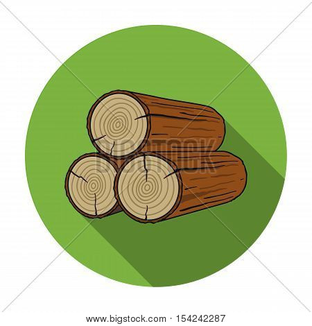 Stack of logs icon in flat style isolated on white background. Sawmill and timber symbol vector illustration.