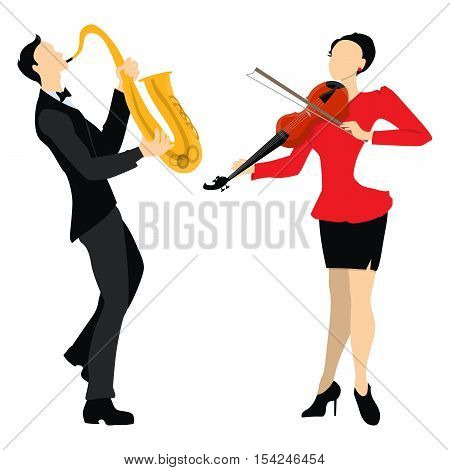 Isolated professional musicians on white background. Male and Female musicians in uniform with saxophone and violin. Playing in duet.