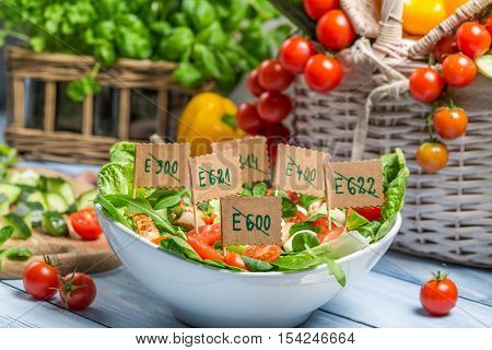Closeup of vegetables without preservatives on wooden table