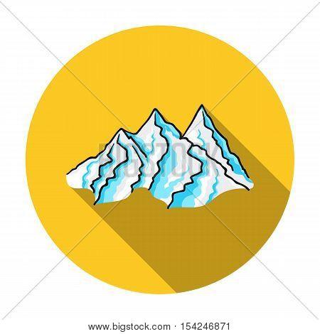 Mountain range icon in flat style isolated on white background. Ski resort symbol vector illustration.