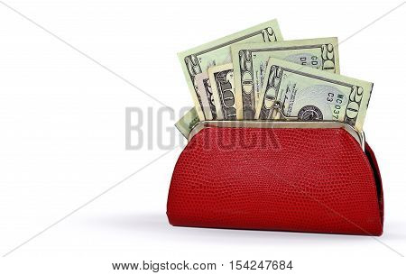 American money in red leather change purse isolated on white