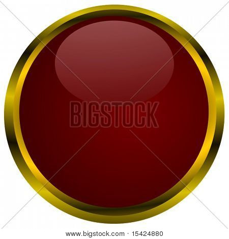 Vector Big Glossy Red Button With Gold Border Isolated On White Background