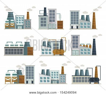 Factory decorative flat icons set including industrial buildings with tank chimney and exhaust pipeline isolated vector illustration