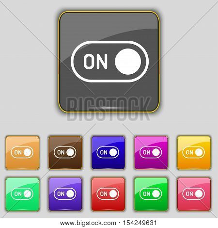 Start Icon Sign. Set With Eleven Colored Buttons For Your Site. Vector