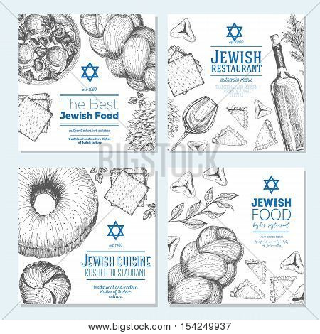 Jewish food banner set. Jewish food square banner collection. Linear graphic