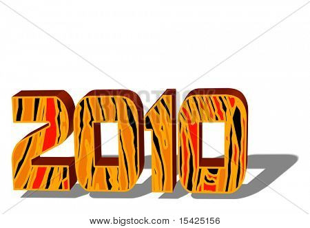 2010 Tiger Print 3D Numbers On White