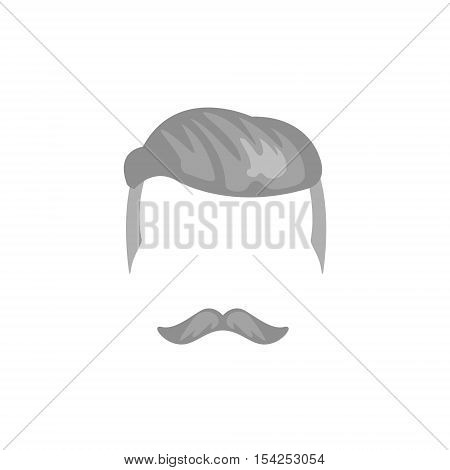 Hipster Male Hair and Facial Hair Style With Undercut.Hair, Beard And Moustache Style Design Template