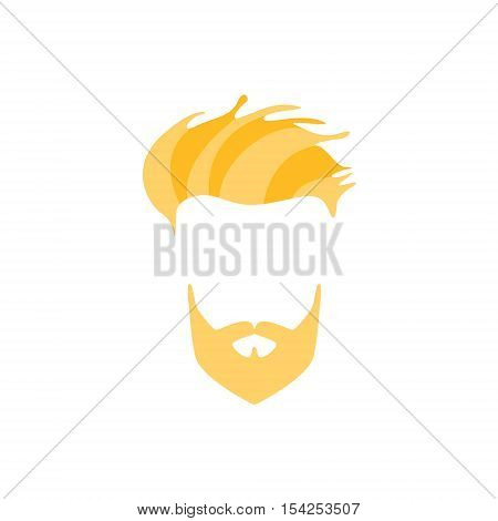 Hipster Male Hair and Facial Hair Style With Full Blond Beard And Side Fringe.Hair, Beard And Moustache Style Design Template