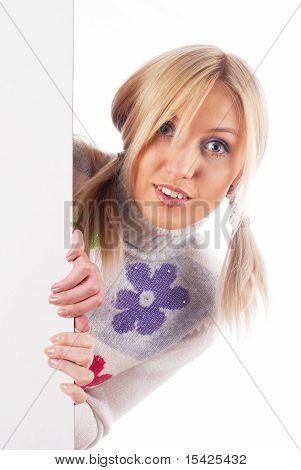 Woman beside whiteboard