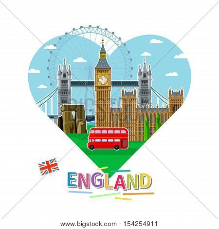 Concept of travel or studying English. English flag with landmarks in shape of heart. Flat design, vector illustration