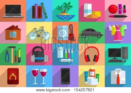 Various objects as potential purchases. Purchasing power, consumerism, sale and buying