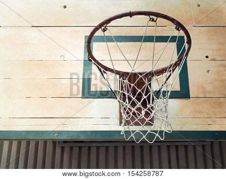 Basketball Hoop in Sport Hall With Place Your Text, Retro Color Filter