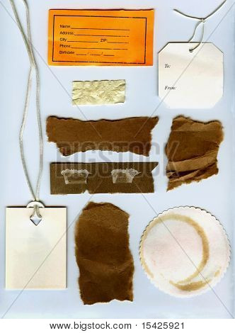 Real Paper Scraps Old Tags And Coffee Stained Coaster