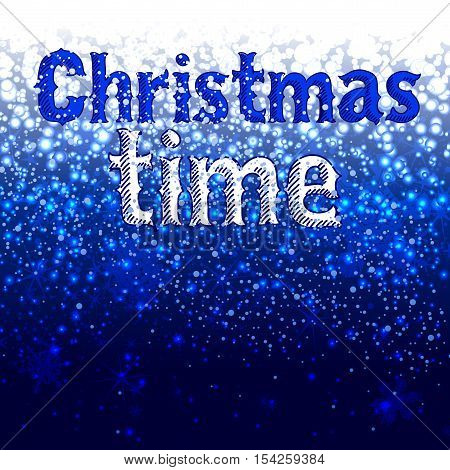 Blue Christmas background with snowflakes and inscription