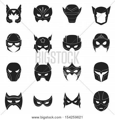 Superhero mask set icons in black style. Big collection of superhero mask vector symbol stock