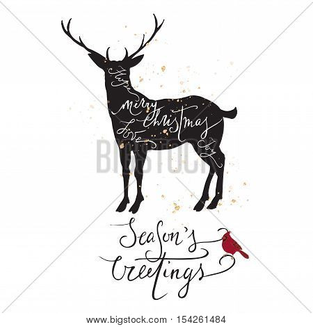 Christmas template with deer, cardinal bird and holiday hand drawn brush lettering. Great for greeting cards and holiday design.