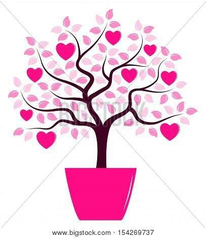 vector heart tree in pot isolated on white background