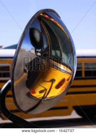 Reflection Of School Bus In Side View Mirror