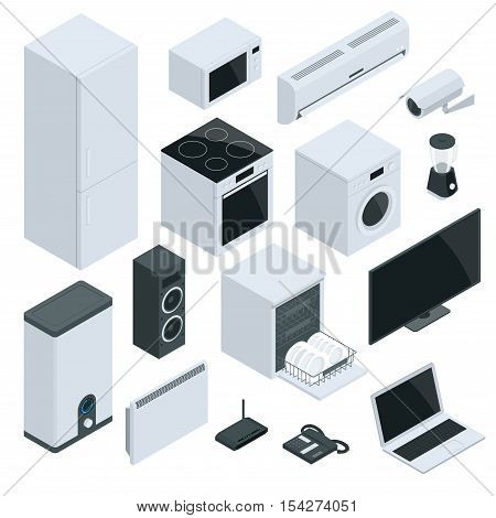 Kitchen and house appliances refrigerator, stove, microwave, music speakers, dishwasher, air conditioning, video camera, washing machine, blender, water boiler, wall mounted heater
