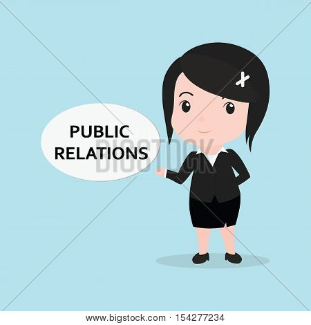 Business Woman Concept By Message Is Public Relation