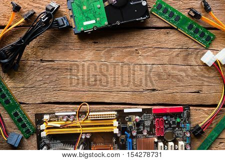 Computer Hardware On A Wooden Background Mockup