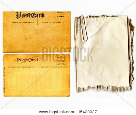 Vintage Real Postcards And Paper On Cardboard With Paper Clip Set