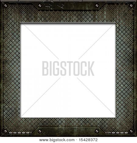 Metal Plate Grunge Border Frame With White Copy Space