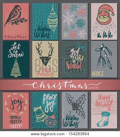 Collection of nine Christmas cards. Greeting card set with hand drawn xmas tree, presents, snowflakes, deers, balls, bells. Includes holiday handwritten lettering. Colorful vector set.