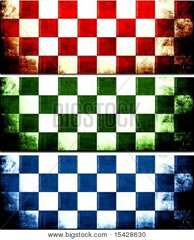 Checkerboard Grunge Banner Set