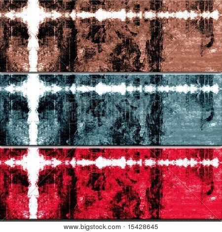 Grunge Cross Texture Backgrounds Set