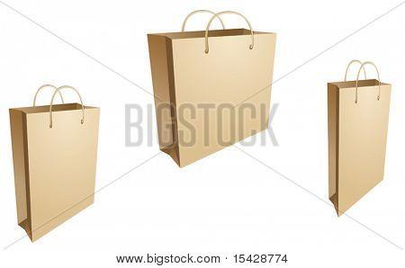 Versão de vetor. Três isolaram sacolas em branco