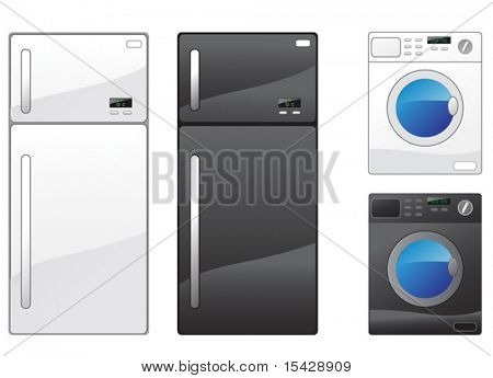 VECTOR. Modern refrigerator and washing machine on the white. JPEG version you can see in my gallery