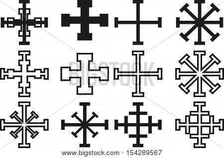 cross set ,Set of crosses ,Vector Crosses icon set