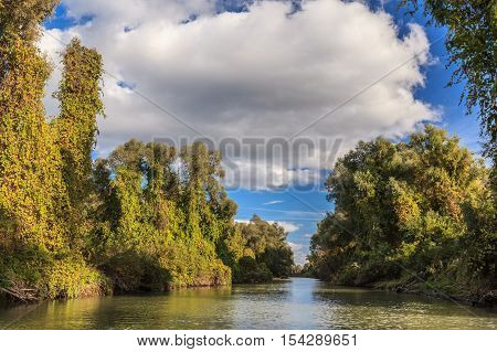 river channel in the Danube Delta Romania