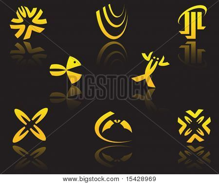 Vector. Set of golden symbols on black with reflection. Jpeg version also available