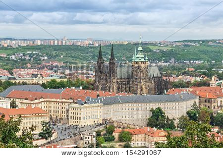 View on Prague Castle and St. Vitus cathedral from Petrin tower Czech Republic