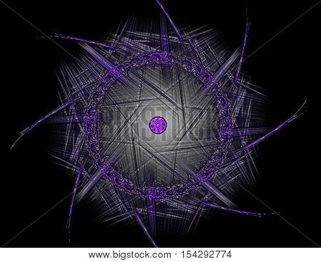 Particles of abstract fractal forms on the subject of nuclear physics science and graphic design. Geometry sacred futuristic quantum digital hologram texture in development wave surreal design.