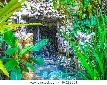 Ubud Bali Indonesia - April 13 2012: View of SPA pool at Tjampuhan Spa hotel at Ubud