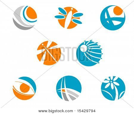 Vector. Set of color symbols isolated on white. Jpeg version also available