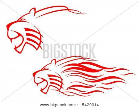 Vector version. Red tiger sign. Jpeg version also available