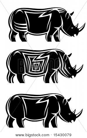 Jpeg version. Set of wild rhinoceroses. Vector version also available