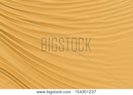 Orange fabric folds. Smooth drapes cloth decoration. 3d render