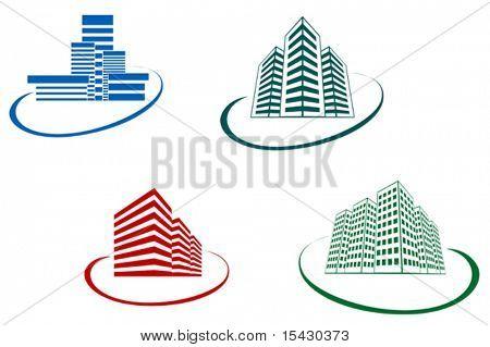 Vector. Símbolos de edificios modernos de diseño. También disponible en la versión JPEG