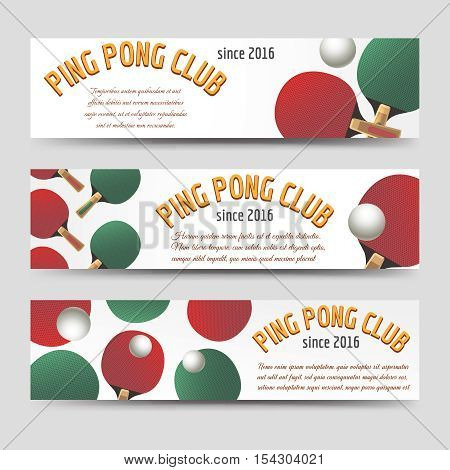 Sport banners set vector illustration. Horizontal ping pong banners with paddles and balls