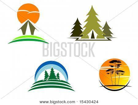 JPEG-Version. Tourismus-Symbole für Design. Vektor-Version erhältlich