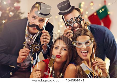 Picture showing group of friends celebrating New Year