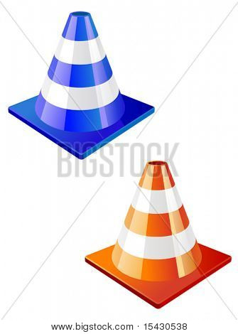 Vector version. Traffic cone icon in two colors for design