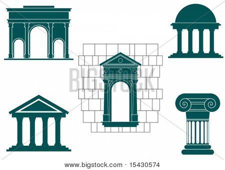 Versión de vector. Símbolos de antiguos edificios de diseño y decoración