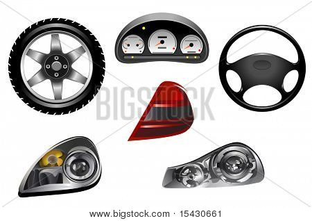 Jpeg version. Isolated details of car for design and concept