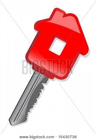 Vektor-Version. Metallische Hausschlüssel, isolated on White als ein Konzept der Immobilien